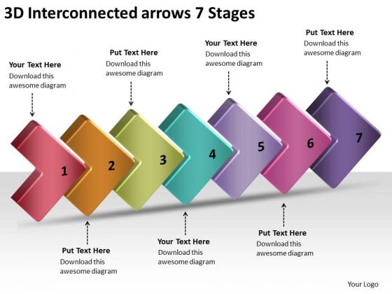 3d Interconnected Arrows 7 Stages Proto Typing PowerPoint Slides