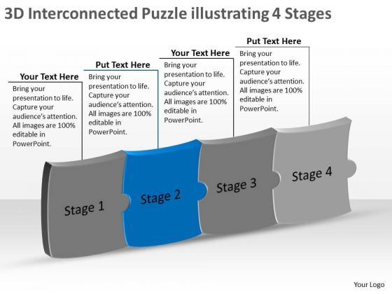 3d Interconnected Puzzle Illustrating 4 Stages Flow Charts Vision PowerPoint Templates