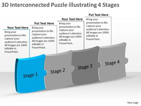 3d interconnected puzzle illustrating 4 stages manufacturing, Modern powerpoint