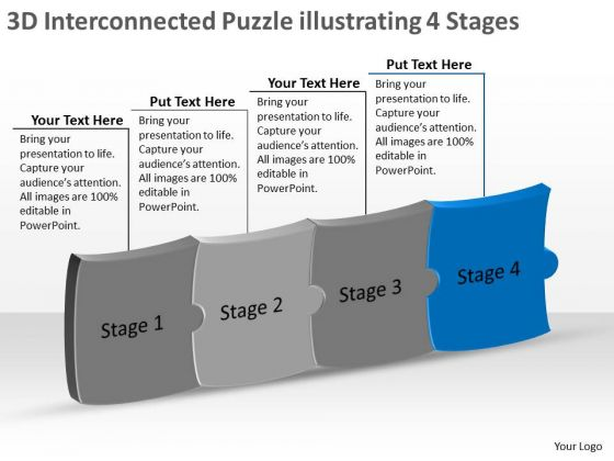3d Interconnected Puzzle Illustrating 4 Stages Ppt Schematic Design PowerPoint Templates