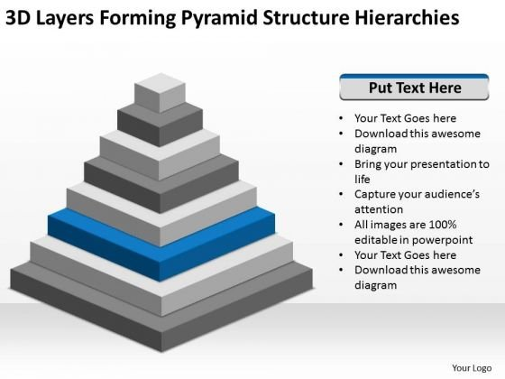 3d Layers Forming Pyramid Structure Hierarchies Ppt Business Plan Builder PowerPoint Templates