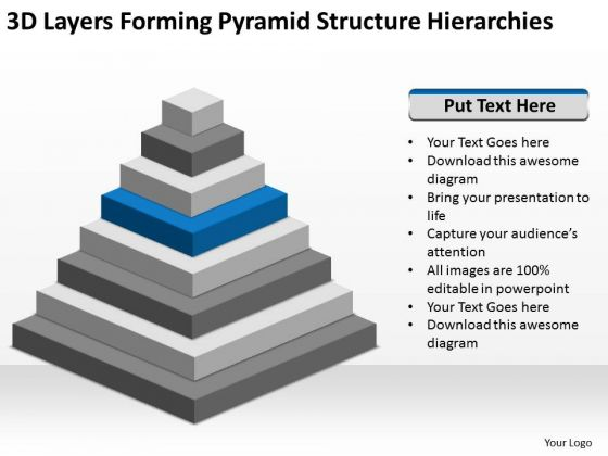 3d Layers Forming Pyramid Structure Hierarchies Ppt Business Plans PowerPoint Slides