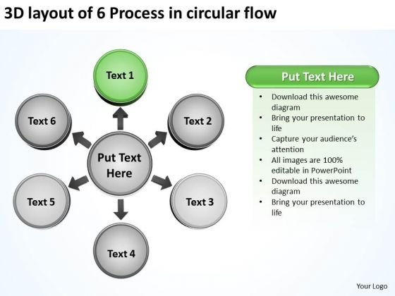 3d Layout Of 6 Process In Circular Flow Chart PowerPoint Templates
