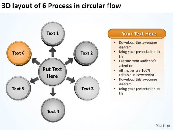 3d Layout Of 6 Process In Circular Flow Cycle Spoke PowerPoint Slides