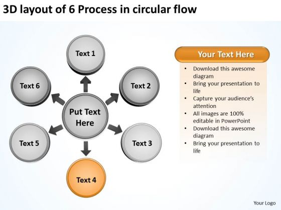 3d Layout Of 6 Process In Circular Flow Diagram PowerPoint Templates