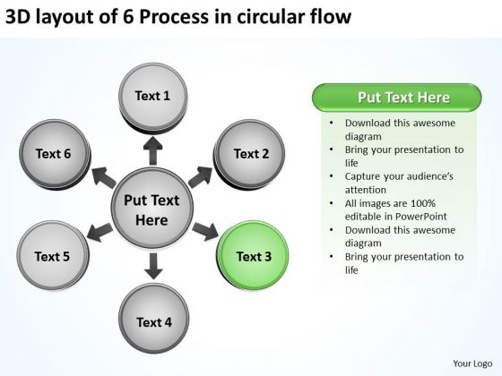 3d Layout Of 6 Process In Circular Flow Relative Cycle Arrow PowerPoint Slides