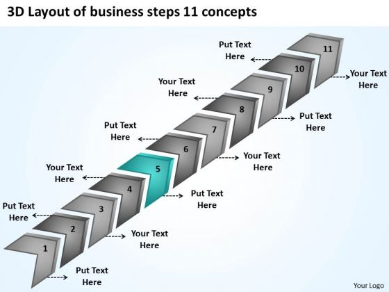 3d layout of business steps 11 concept 30 60 90 day plan, Powerpoint templates