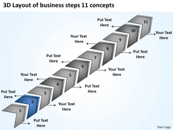3d Layout Of Business Steps 11 Concepts Written Plan PowerPoint Templates