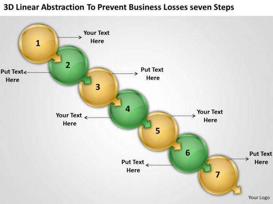 3d Linear Abstraction To Prevent Business Losses Seven Steps Program Flowchart PowerPoint Slides