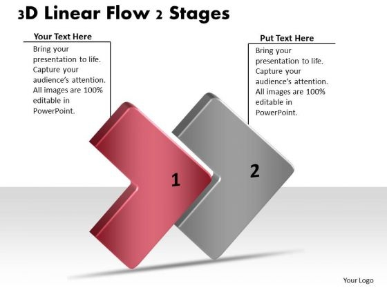 3d Linear Flow 2 Stages Ppt Electrical Circuit Simulator PowerPoint Slides