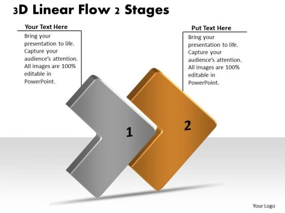 3d Linear Flow 2 Stages Ppt Network Mapping Freeware PowerPoint Slides