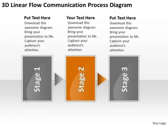 3d Linear Flow Communication Process Diagram Business Plans Outline PowerPoint Templates