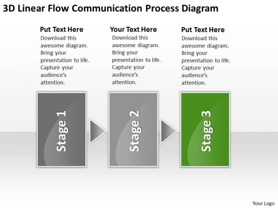 3d Linear Flow Communication Process Diagram Ppt How To Wright Business Plan PowerPoint Slides