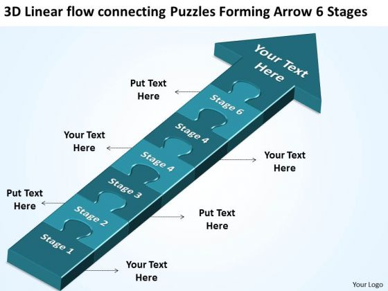 3d Linear Flow Connecting Puzzles Forming Arrow 6 Stages Business Tech Support PowerPoint Slides