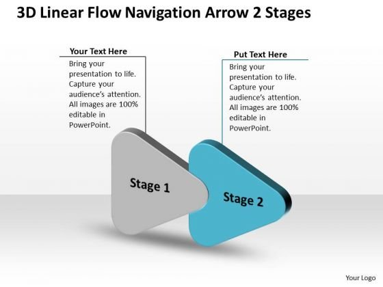 3d Linear Flow Navigation Arrow 2 Stages Ppt Working Chart PowerPoint Slides