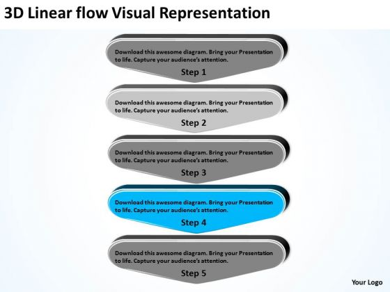 3d Linear Flow Visual Representation Short Business Plan Template  PowerPoint Templates   PowerPoint Templates
