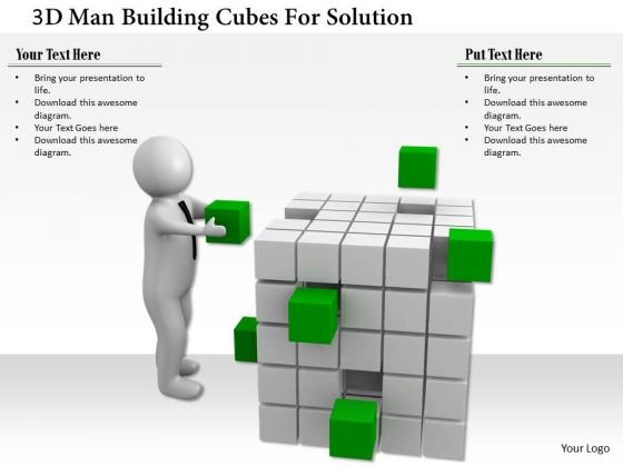 3d Man Building Cubes For Solution