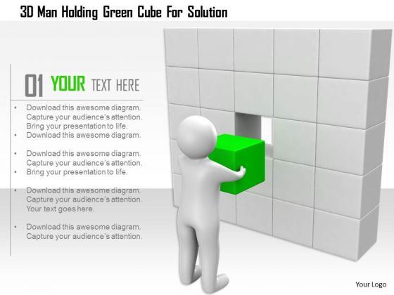 3d Man Holding Green Cube For Solution