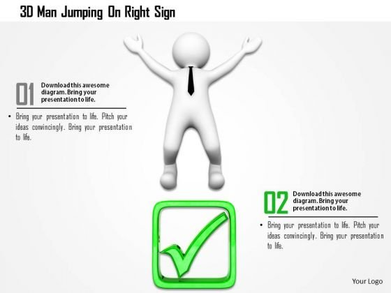 3d Man Jumping On Right Sign PowerPoint Templates