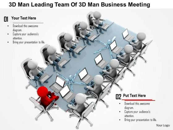 3d Man Leading Team Of 3d Man Business Meeting