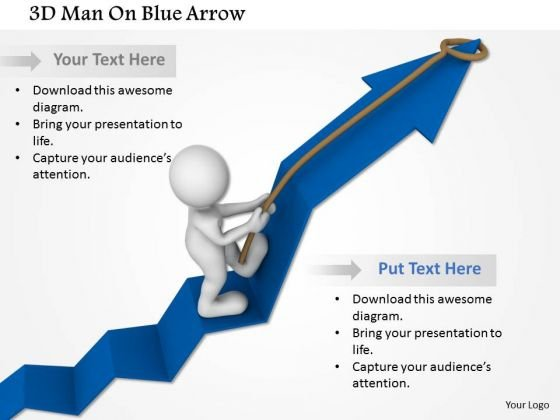 3d Man On Blue Arrow PowerPoint Templates