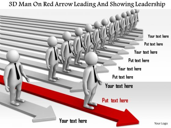 3d Man On Red Arrow Leading And Showing Leadership