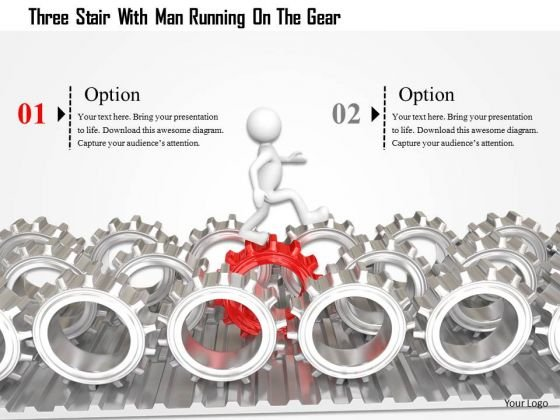 3d Man On Silver Gears PowerPoint Templates