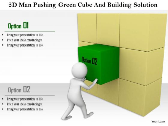 3d Man Pushing Green Cube And Building Solution