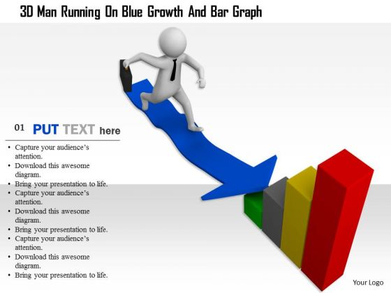 3d Man Running On Blue Growth And Bar Graph