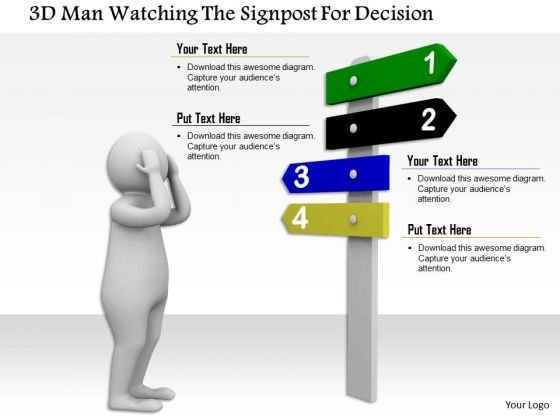 3d Man Watching The Signpost For Decision