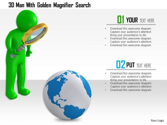 3d Man With Golden Magnifier Search