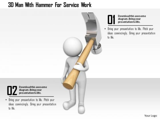 3d Man With Hammer For Service Work