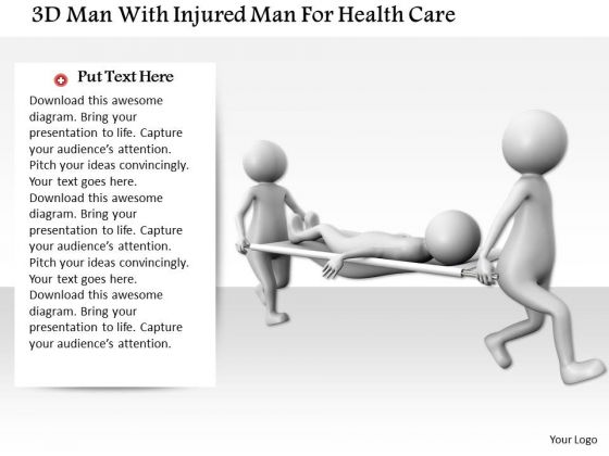3d Man With Injured Man For Health Care