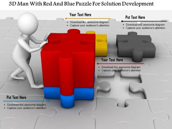 3d Man With Red And Blue Puzzle For Solution Development