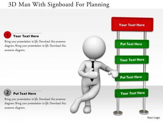 3d Man With Signboard For Planning PowerPoint Templates