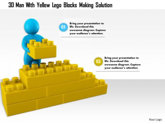 3d Man With Yellow Lego Blocks Making Solution