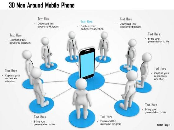3d Men Around Mobile Phone PowerPoint Templates