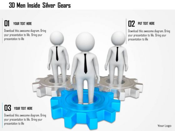 3d Men Inside Silver Gears PowerPoint Templates