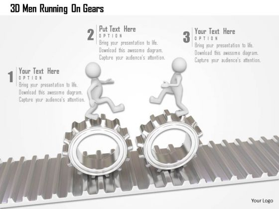 3d Men Running On Gears PowerPoint Templates