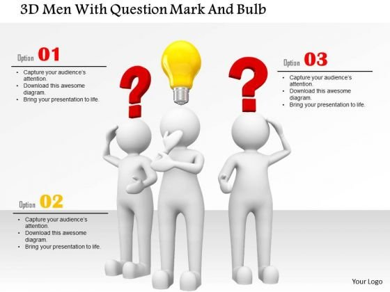 3d Men With Question Mark And Bulb PowerPoint Templates