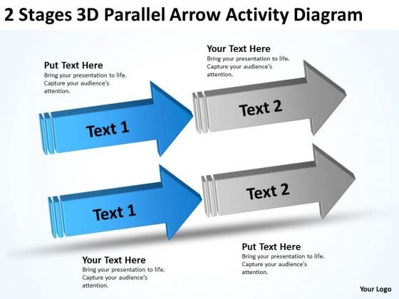 3d Parallel Arrow Activity Diagram Software Business Plan Example PowerPoint Templates