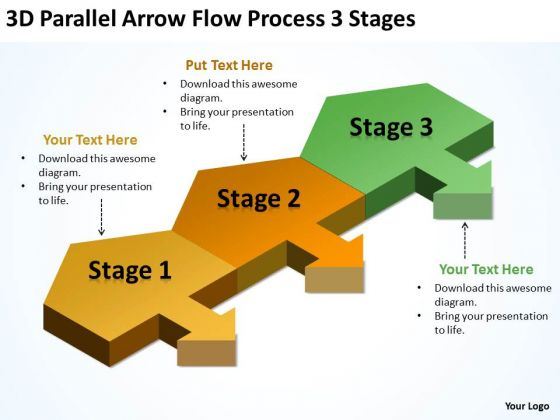 3d Parallel Arrow Flow Process Stages Start Up Business Plan Template PowerPoint Templates