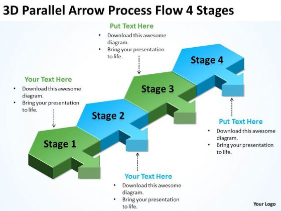 3d Parallel Arrow Process Flow 4 Stages Business Plan Guide PowerPoint Templates
