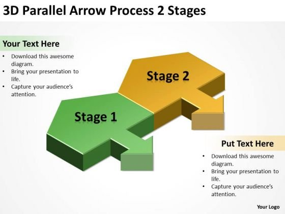 3d Parallel Arrow Process Stages Develop Business Plan PowerPoint Slides