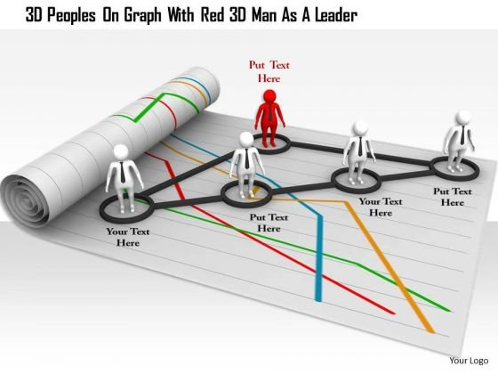 3d Peoples On Graph With Red 3d Man As A Leader
