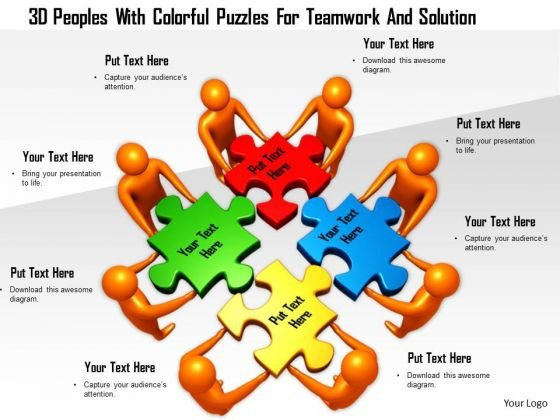 3d Peoples With Colorful Puzzles For Teamwork And Solution
