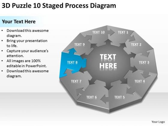 3d Puzzle 10 Staged Process Diagram Ppt Business Plan PowerPoint Slides