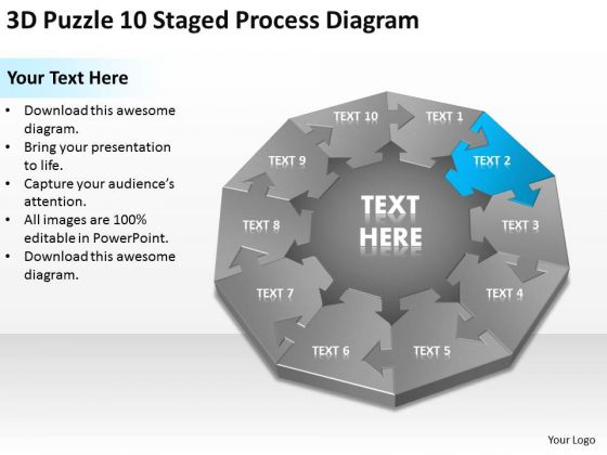3d Puzzle 10 Staged Process Diagram Ppt Business Plan Writing Service PowerPoint Templates