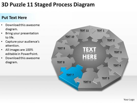 3d Puzzle 11 Staged Process Diagram Ppt Business Plan PowerPoint Templates