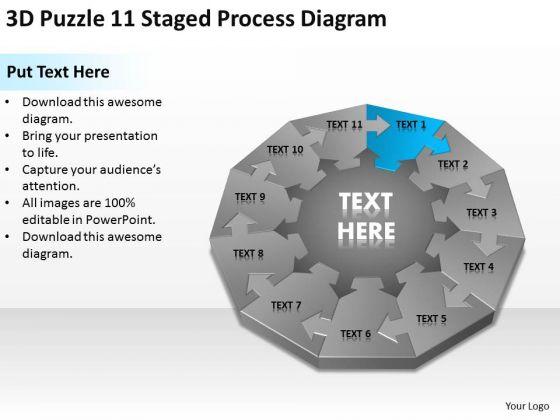 3d Puzzle 11 Staged Process Diagram Ppt Show Me Business Plan Powerpoint Slides Powerpoint Templates